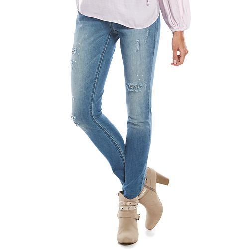 WOMENs Mid WAISTED SKINNY Slim JEANS Jeggings Pearl Embellish Pants 8-20