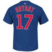 Men's Majestic Chicago Cubs Kris Bryant Player Name and Number Tee
