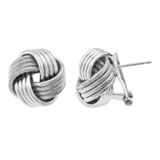 Sterling Silver Textured Love Knot Button Stud Earrings