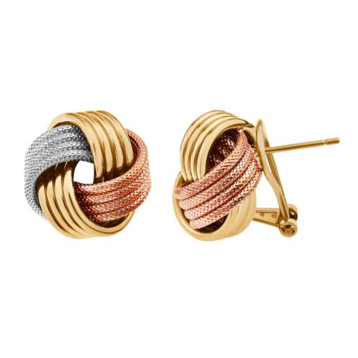 Two Tone 14k Gold Over Silver & Sterling Silver Textured Love Knot Button Stud Earrings