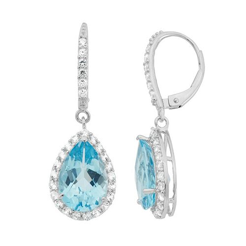 Blue Topaz & Lab-Created White Sapphire Sterling Silver Teardrop Halo Earrings