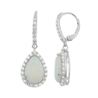 Lab-Created Opal & Lab-Created White Sapphire Sterling Silver Teardrop Halo Earrings