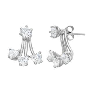 Cubic Zirconia Sterling Silver Heart Drop Earrings