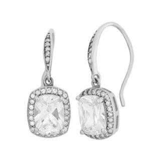 Sterling Silver Cubic Zirconia Halo Drop Earrings