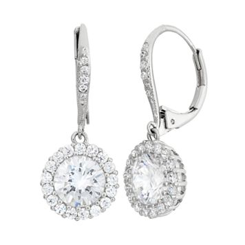 Cubic Zirconia Sterling Silver Halo Drop Earrings