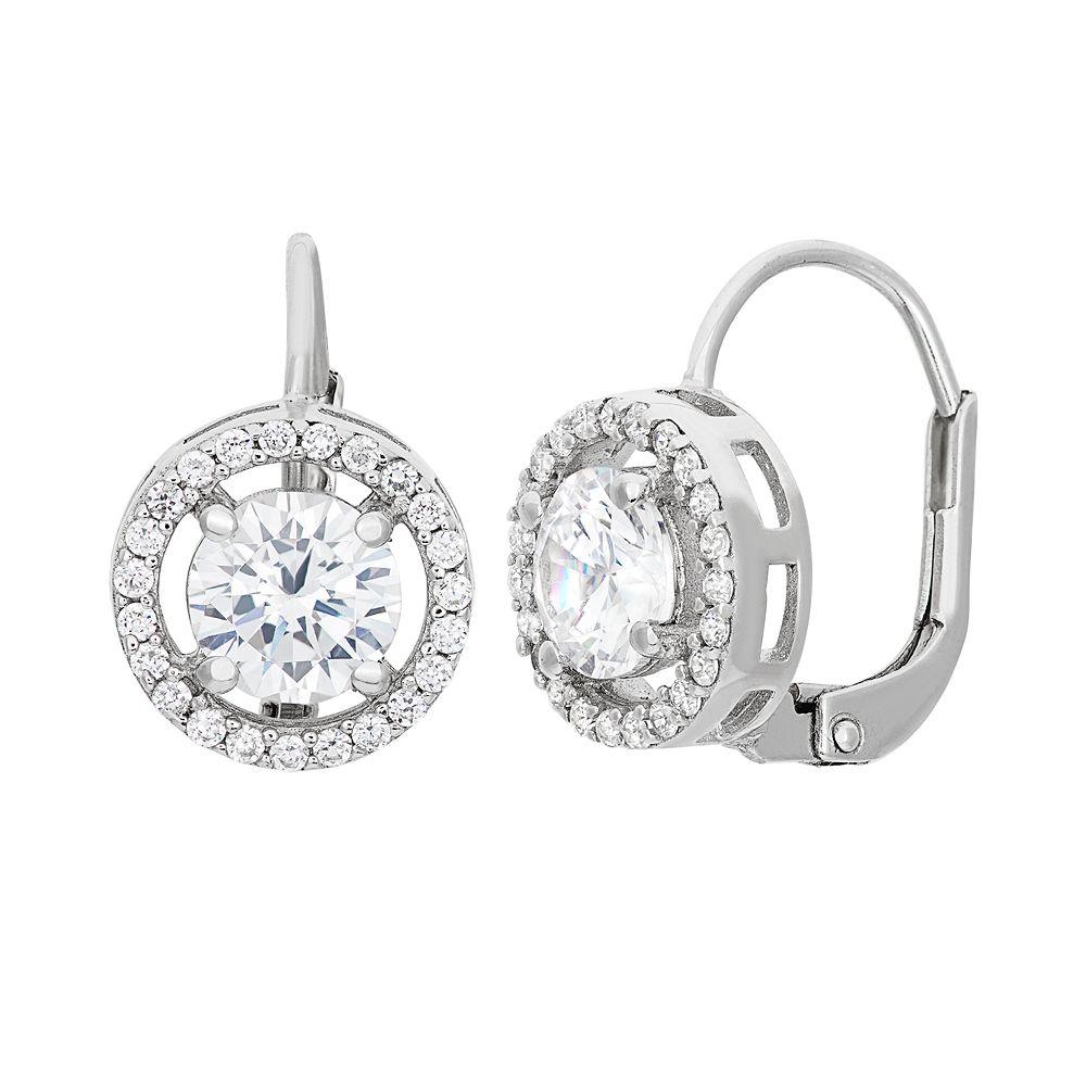 Cubic Zirconia Sterling Silver Halo Drop Earrings