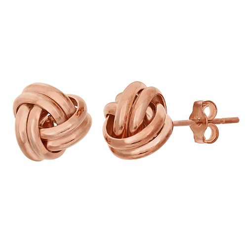 14k Rose Gold Over Silver Love Knot Button Stud Earrings