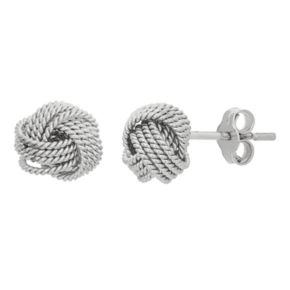 Sterling Silver Rope Love Knot Button Stud Earrings
