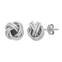 Sterling Silver Love Knot Button Stud Earrings