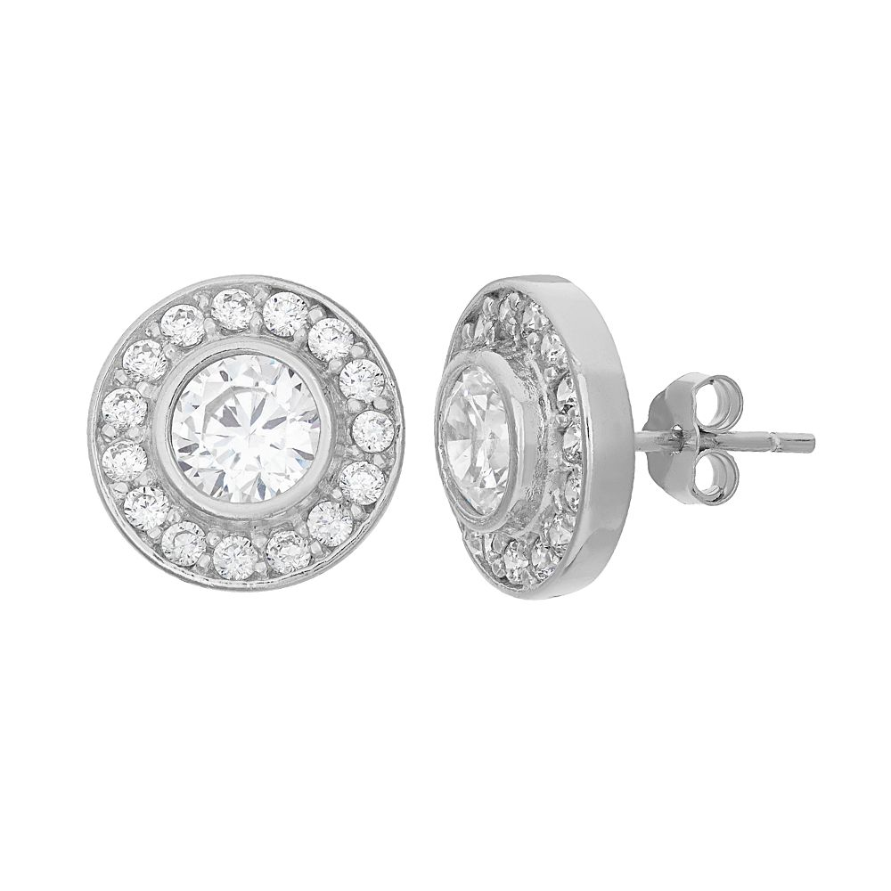 Cubic Zirconia Sterling Silver Halo Button Stud Earrings