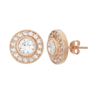 Cubic Zirconia 14k Rose Gold Over Silver Halo Button Stud Earrings