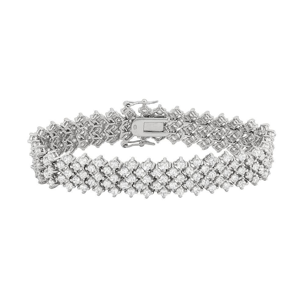 Cubic Zirconia Sterling Silver Multirow Bracelet