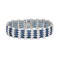 Cubic Zirconia Sterling Silver Multirow Bracelet