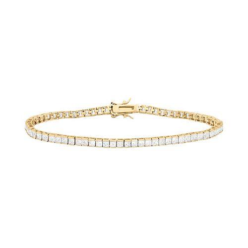 14k Gold Over Silver Cubic Zirconia Tennis Bracelet