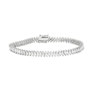 Cubic Zirconia Sterling Silver Marquise Tennis Bracelet