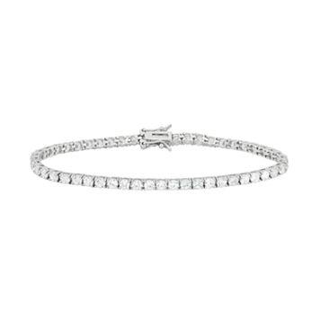 Cubic Zirconia Sterling Silver Tennis Bracelet