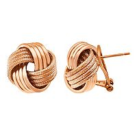14k Gold Over Silver Textured Love Knot Button Stud Earrings