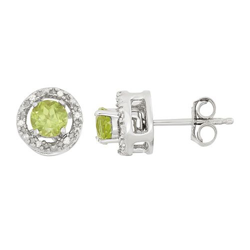 Peridot & Diamond Accent Sterling Silver Halo Button Stud Earrings
