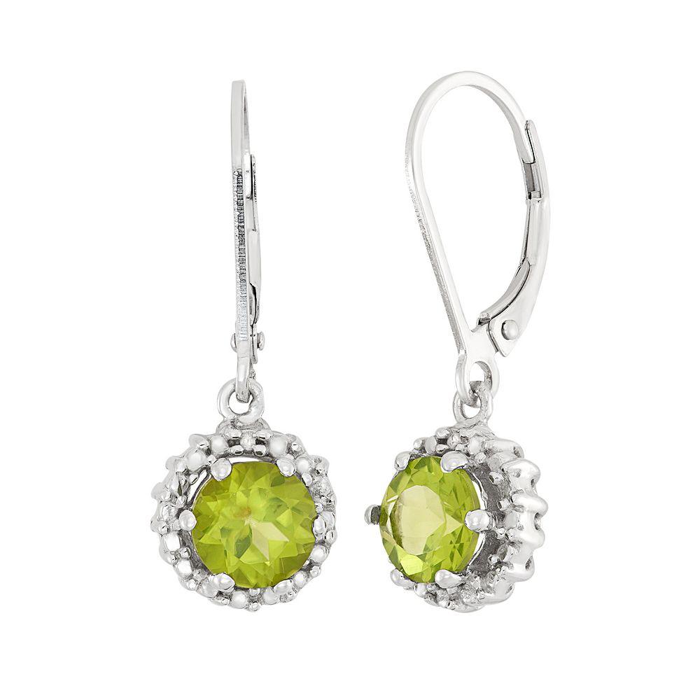 Peridot & Diamond Accent Sterling Silver Halo Drop Earrings