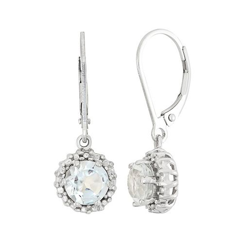 White Topaz & Diamond Accent Sterling Silver Halo Drop Earrings