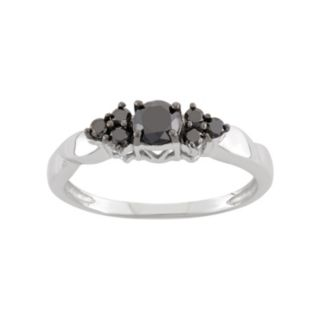1/2 Carat T.W. Black Diamond Sterling Silver Cluster Ring