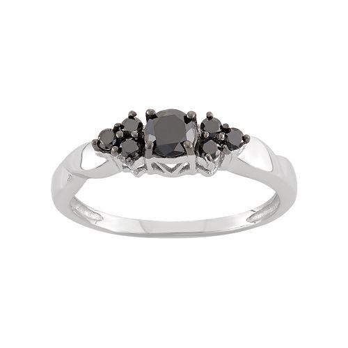 1/2 Carat T.W. Black Diamond Sterling Silver Cluster Ring