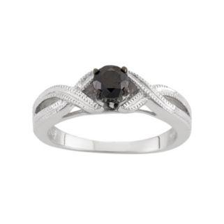 1/2 Carat T.W. Black Diamond Sterling Silver Openwork Ring