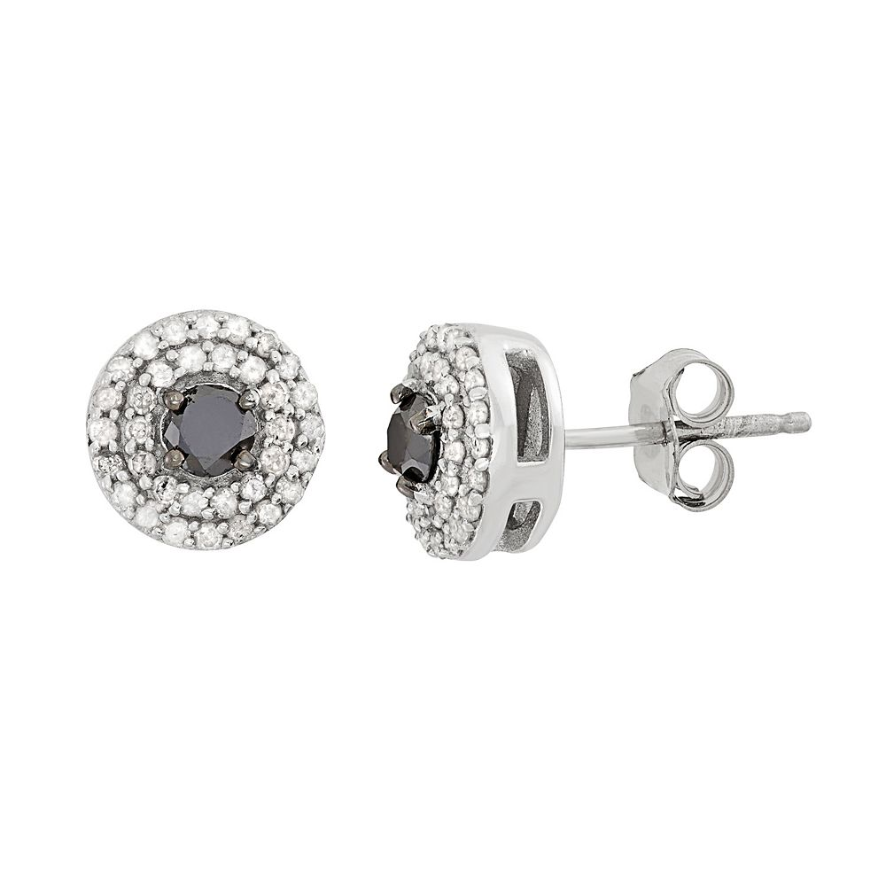 1/2 Carat T.W. Black & White Diamond Sterling Silver Double Halo Button Stud Earrings