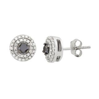 1/2 Carat T.W. Black & White Diamond Sterling Silver Double Halo Button Stud Earrings