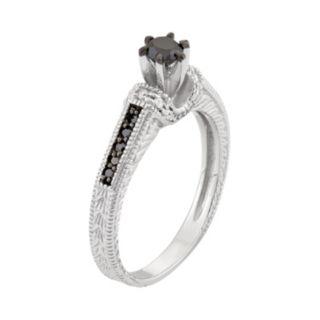 1/2 Carat T.W. Black & White Diamond Sterling Silver Miligrain Ring