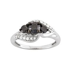 1 Carat T.W. Black & White Diamond Sterling Silver 3-Stone Ring