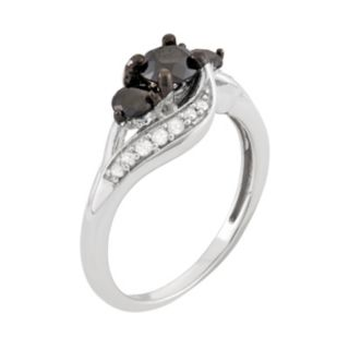 1 Carat T.W. Black & White Diamond Sterling Silver 3-Stone Ring