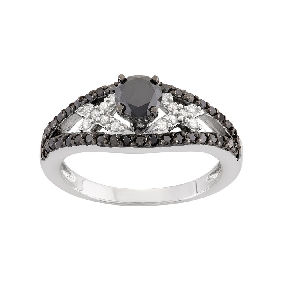 1 Carat T.W. Black & White Diamond Sterling Silver Openwork Ring