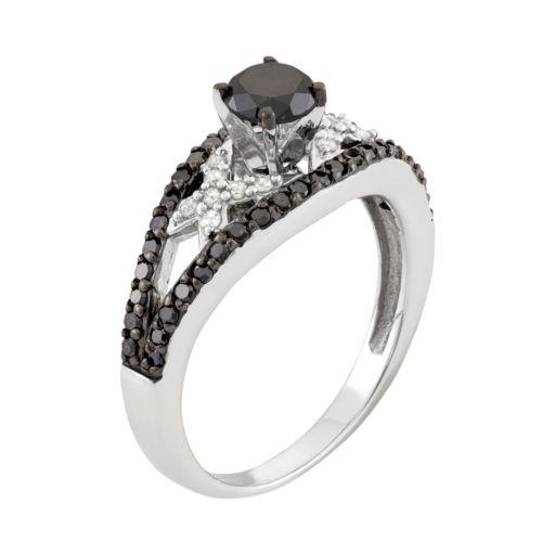 1 Carat T.W. Black & White Diamond Sterling Silver Openwork Ring