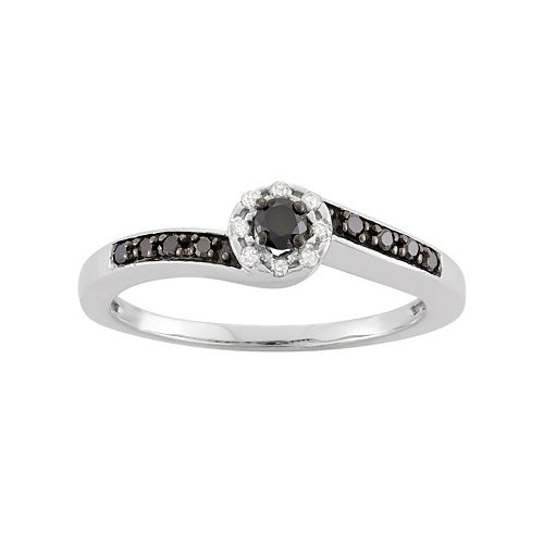 1/5 Carat T.W. Diamond Sterling Silver Halo Ring