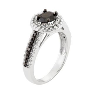 1 1/10 Carat T.W. Black & White Diamond Sterling Silver Double Halo Ring