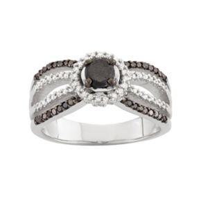 1 Carat T.W. Black & White Diamond Sterling Silver Multirow Halo Ring