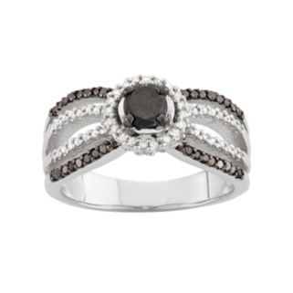 1 Carat T.W. Black & White Diamond Sterling Silver Multirow Halo Ring
