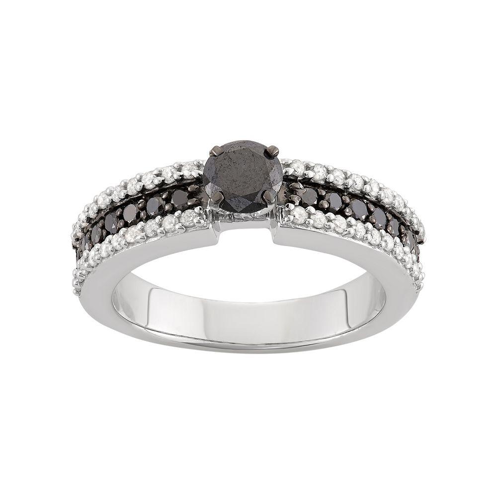 1 Carat T.W. Black & White Diamond Sterling Silver Ring