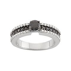 1 Carat T.W. Black & White Diamond Sterling Silver Ring