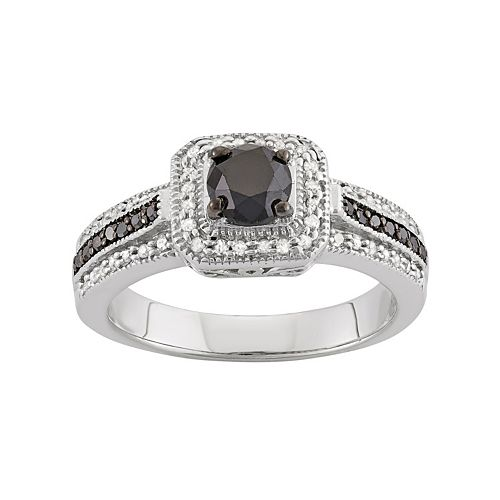 1 Carat T.W. Black & White Diamond Sterling Silver Square Halo Ring