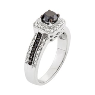 1 Carat T.W. Black & White Diamond Sterling Silver Square Halo Ring