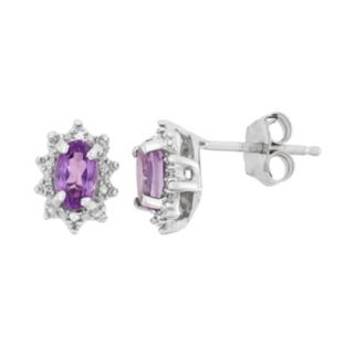 Amethyst & Diamond Accent Sterling Silver Flower Drop Earrings