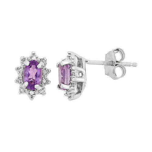 Amethyst & Diamond Accent Sterling Silver Flower Drop Earrings