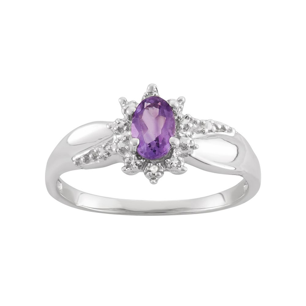 6363a8671fbf4 Amethyst & Diamond Accent Sterling Silver Flower Ring