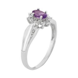 Amethyst & Diamond Accent Sterling Silver Flower Ring