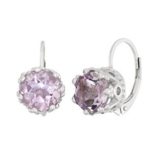 Pink Quartz Sterling Silver Drop Earrings