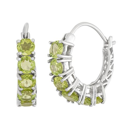Peridot Sterling Silver Hoop Earrings