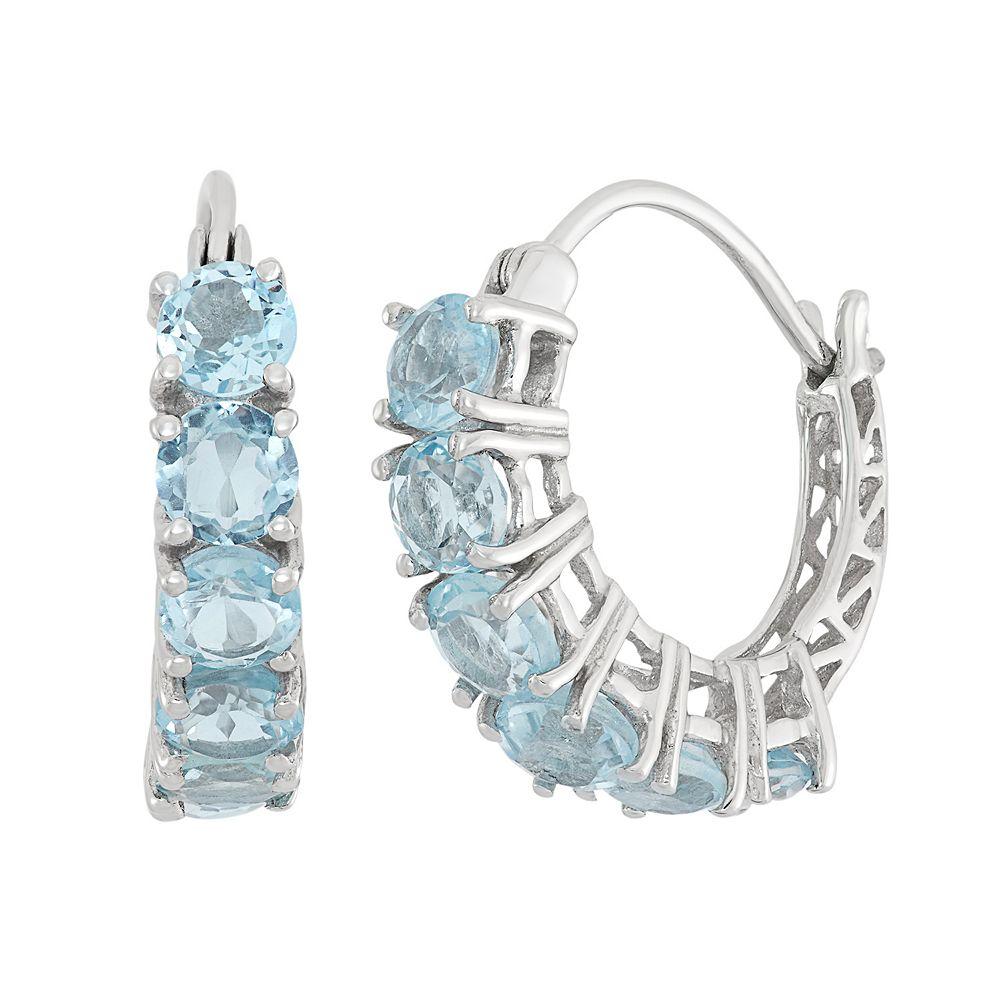 Sky Blue Topaz Sterling Silver Hoop Earrings