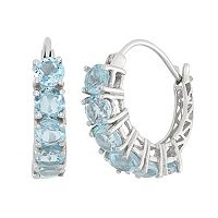 Sky Blue Topaz Sterling Silver Hoop Earrings